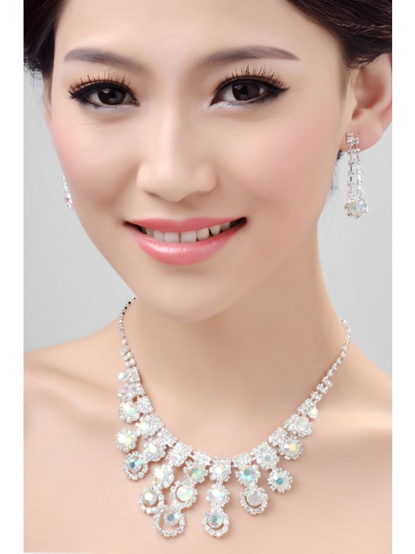 Nice Alloy Rainbow Crystals Wedding Necklaces Earrings Set