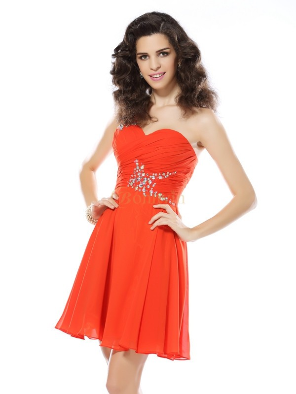Orange Chiffong One-Shoulder A-linjeformat Kort/mini Klänningar