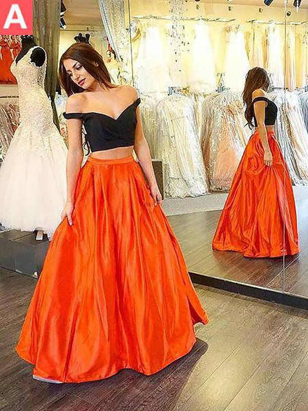 Orange Taft Off-shoulder ringning A-linjeformat Golvläng Klänningar